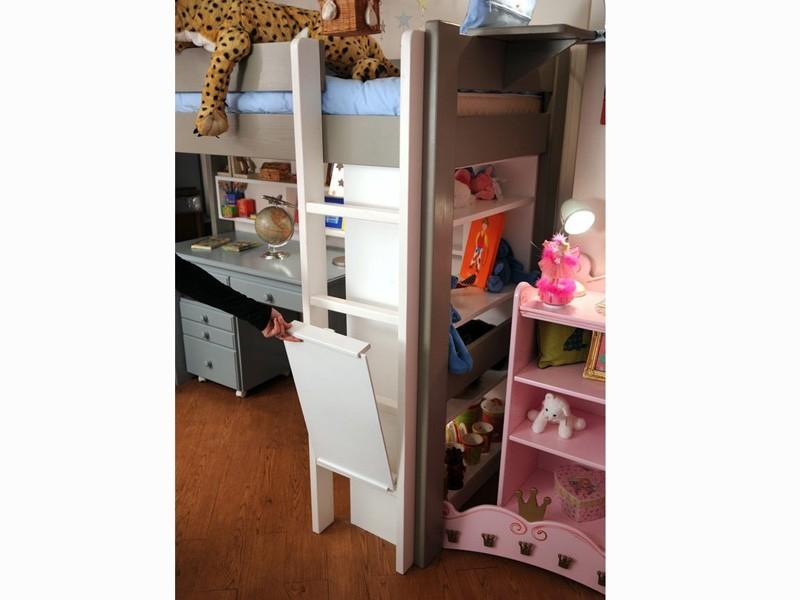 Lit mezzanine enfant avec bureau int gr en bois for Chambre de securite