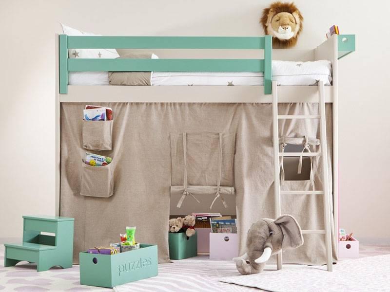 Lit mezzanine enfant avec etagere design biblioth que - Lit superpose petite hauteur ...