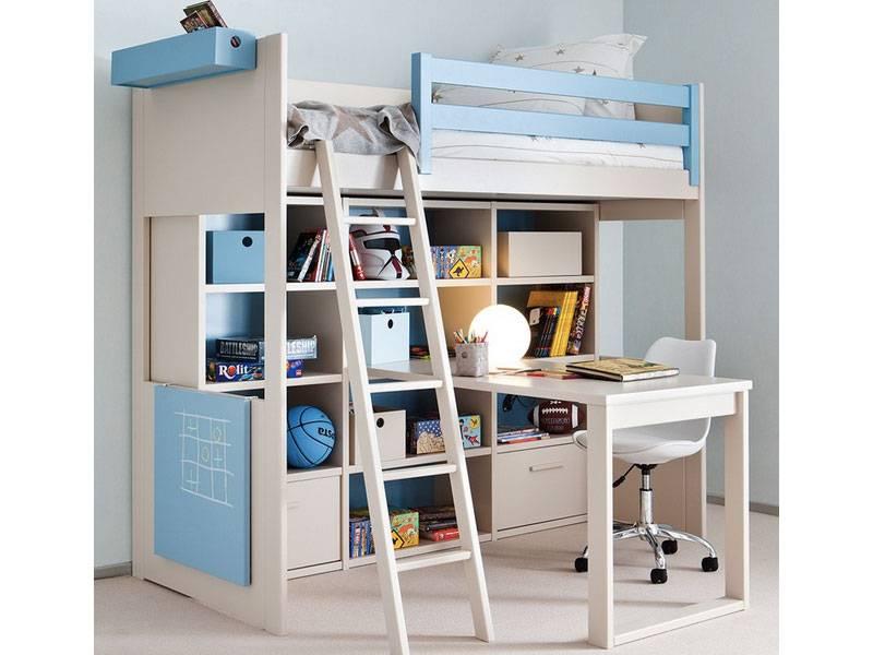 Lit mezzanine enfant avec etagere design bibliotheque for Luminaire chambre enfant avec matelas paris 14